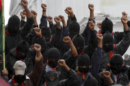 zapatistas w fists raised