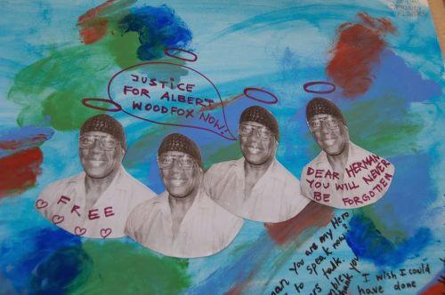 Foto: Ann Harkness. Arte exhibido en el servicio conmemorativo de HermanWallace.