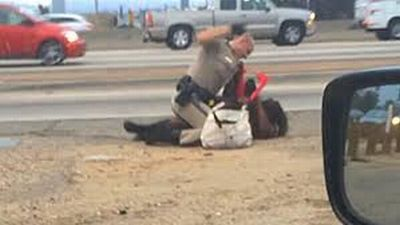 CHP beats woman on freeway
