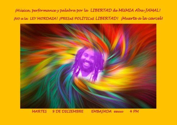 Cartel Libertad a Mumia-- NO ley mordaza- Dic 2014 -