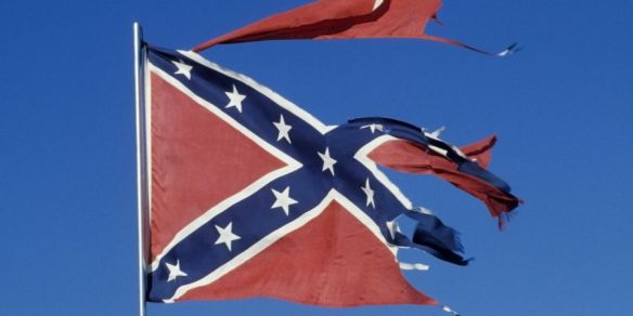 Torn and tattered Confederate Flag