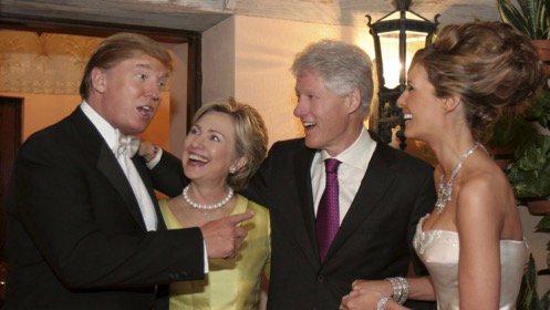 Los Clinton en la boda de los Trump