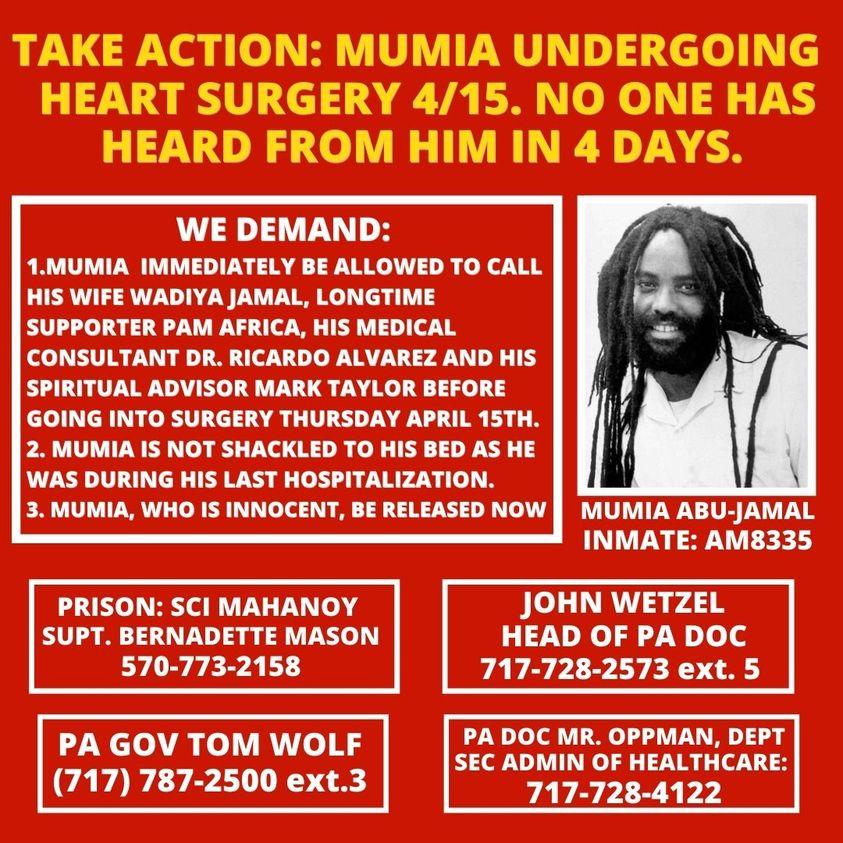 Mumia heart surgery april 15