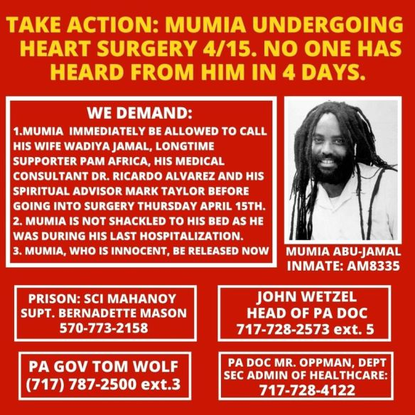 Mumia heart surgery april 15